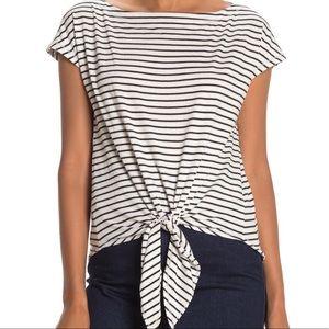 Max Studio Front Tie Stripe Print T-Shirt
